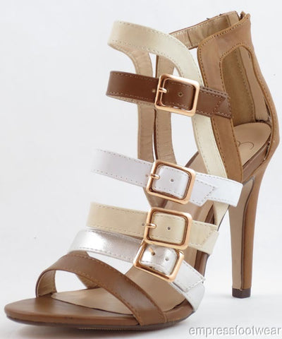 Tan Multi Open Toe Buckle Slim High Heel Leatherette Sandals
