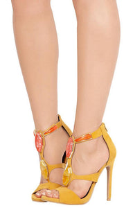 NEW AMELIA YELLOW JEWEL OPEN TOE HEEL