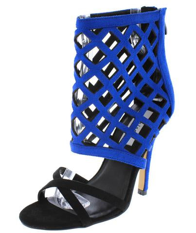 REIGN ROYAL BLUE LASER CUT HEELS