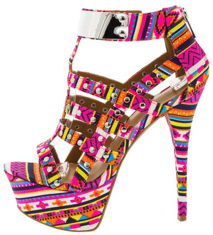 NEW JILLIAN TRIBAL PRINT HEEL