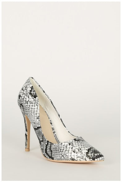 NEW SNAKE POINTY TOE STILETTO HEEL PUMP