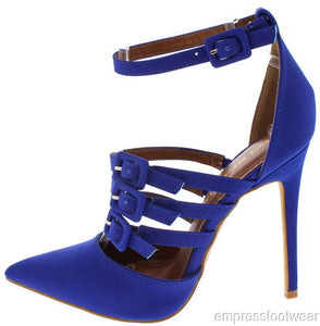 WOMEN VIOLET MULTI BUCKLE POINTED ANKLE STRAP HEEL