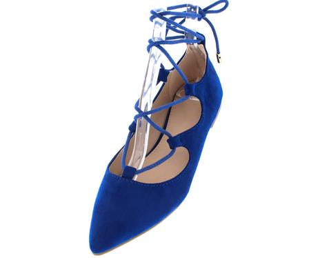 BLUE LACE UP FLATS