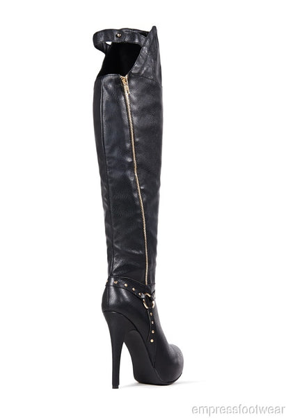 WOMENS BLACK OVER THE KNEE EMBELLISHED FAUX LEATHER BOOTS