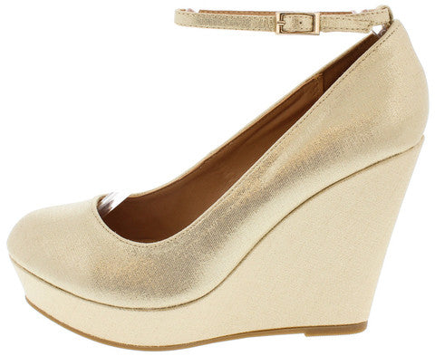 GOLD METALLIC ANKLE STRAP PLATFORM WEDGES