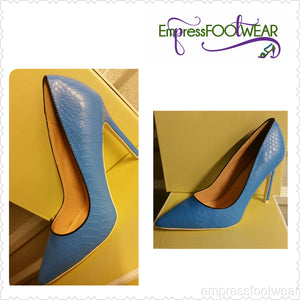 Blue Snake Skin Textured Single Sole Pump Heels Faux Leather
