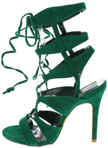 CORA GREEN SUEDE ANKLE WRAP HEEL