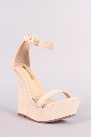 NEW VEGAN SUEDE ANKLE STRAP PLATFORM WEDGE