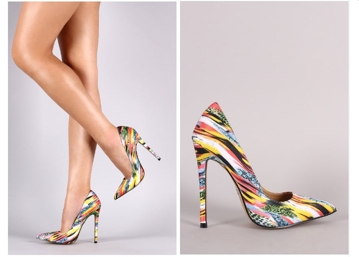 TERRY YELLOW MIXED PRINT PUMPS