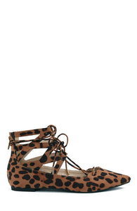 LEOPARD SUEDE LACE UP FLATS