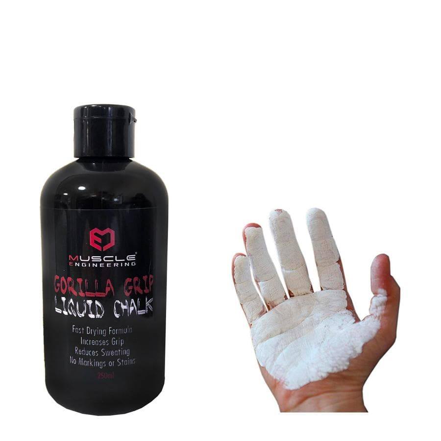 Muscle Engineering Gorilla Grip Liquid Chalk on hands