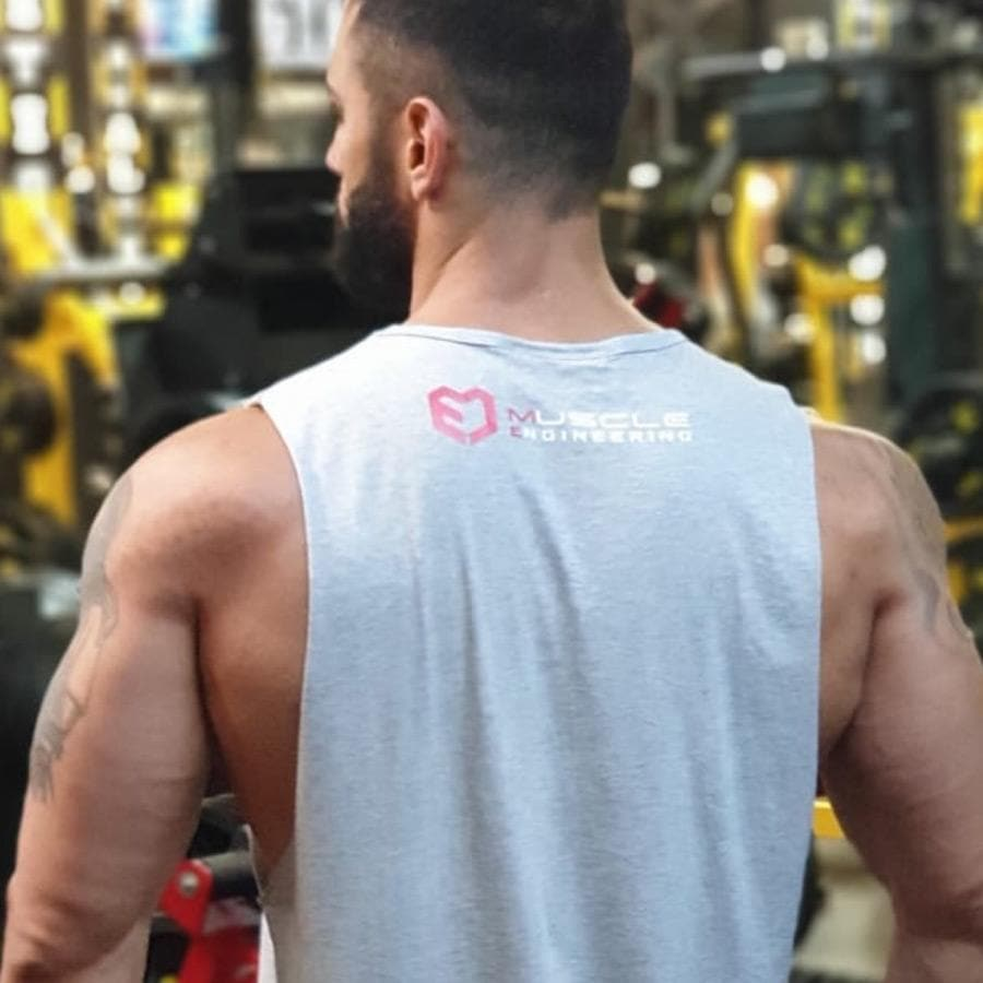 Muscle Engineering Grey Tank  On Model Back