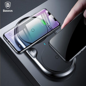 Baseus 2 in 1 10W Dual QI Wireless Charger For iPhone / Samsung