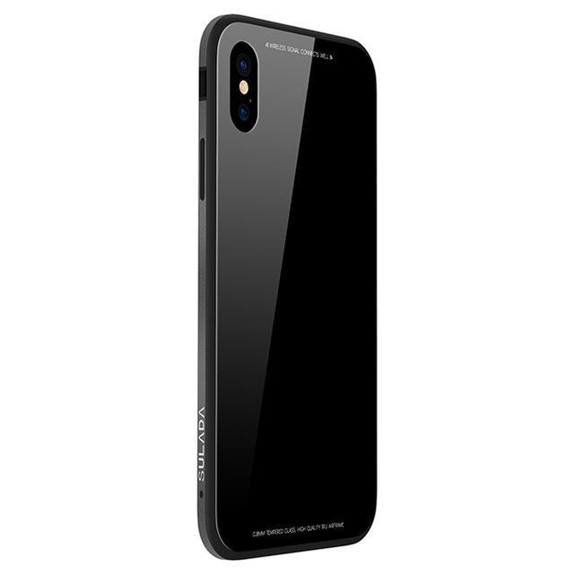 Hard Glass + Metal Protector Case for iPhone X, Xs, Xs Max, Xr