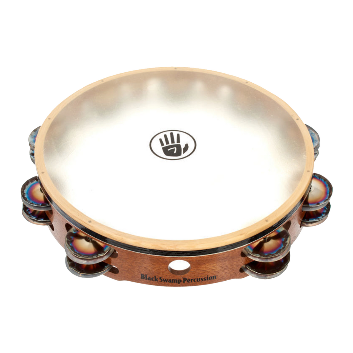 Black Swamp - Double Row Calf Head Tambourines-Percussion Accessories-Black Swamp-Chromium 25-Music Elements