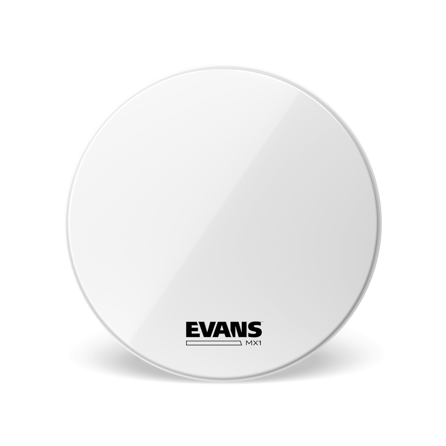 Evans - MX1 Marching Bass Drum Heads (White)-Percussion-Evans-Music Elements