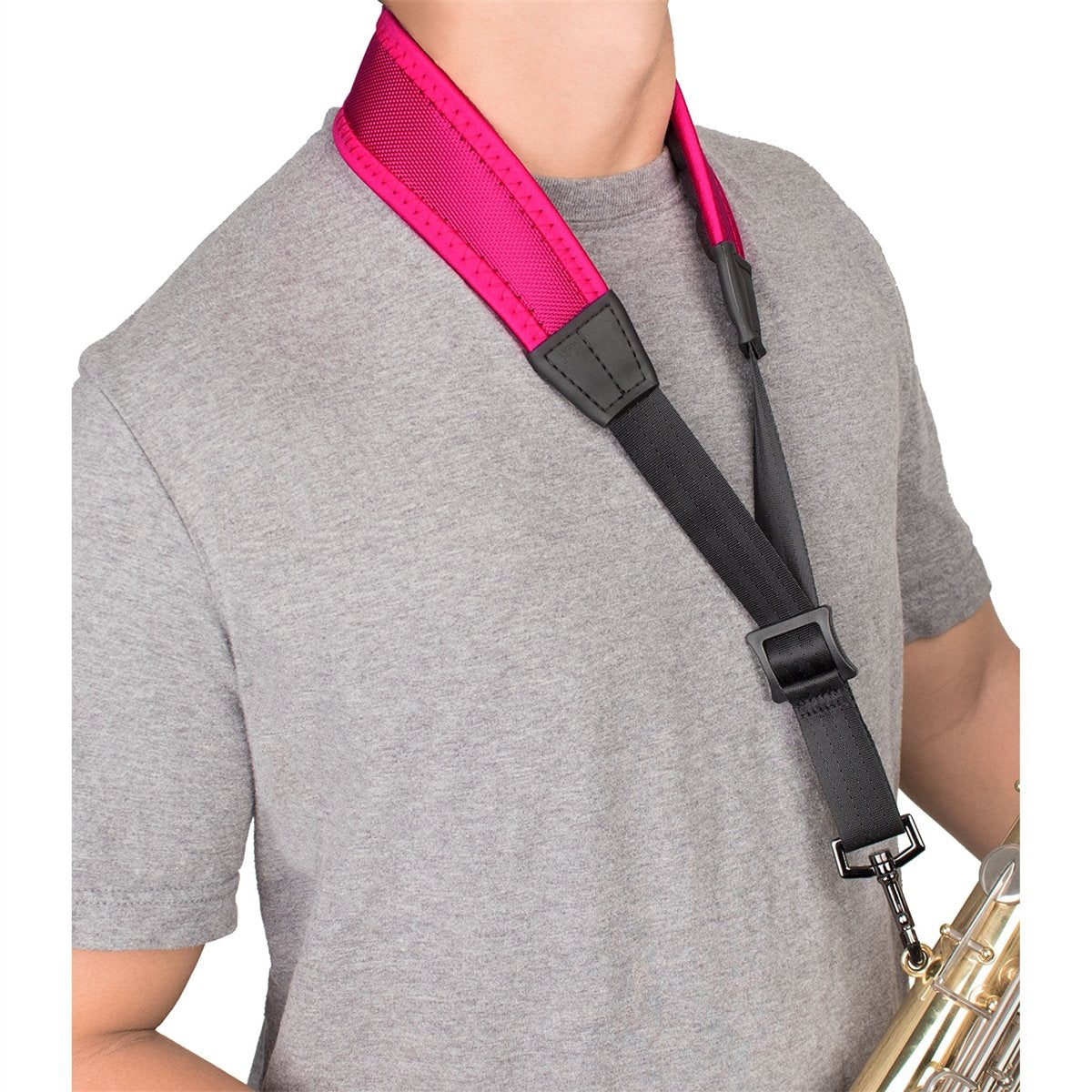 Protec - 22″ (Regular) Ballistic Neoprene Less-Stress Saxophone Neck Strap-Accessories-Protec-Hot Pink-Music Elements