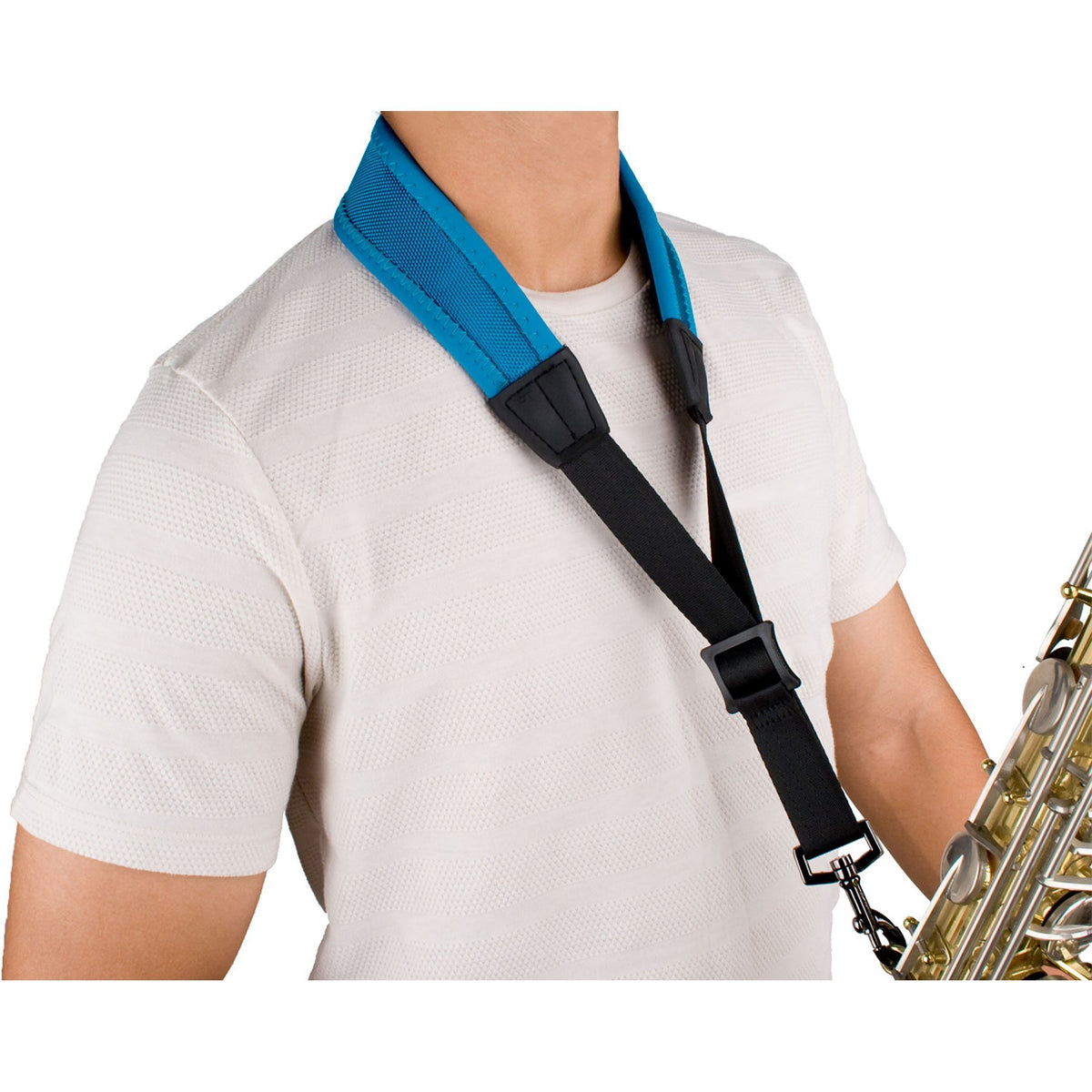 Protec - 22″ (Regular) Ballistic Neoprene Less-Stress Saxophone Neck Strap-Accessories-Protec-Teal Blue-Music Elements