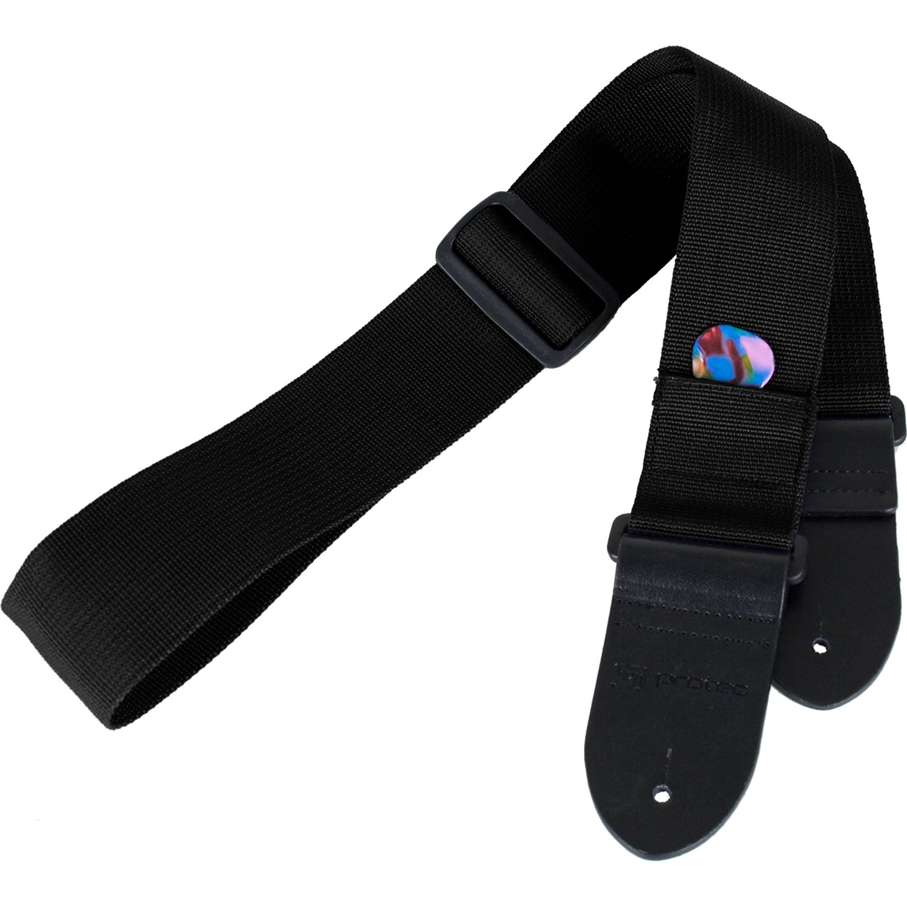 Protec - Nylon Guitar Strap with Leather Ends & Pick Pocket-Accessories-Protec-Black-Music Elements