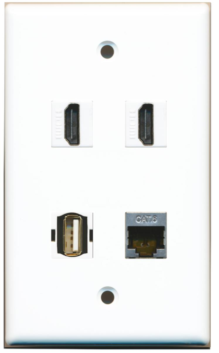 Wallplate City - 2 Port HDMI 1 Port USB A-A 1 Port Shielded Cat6 Ethernet Wall Plate