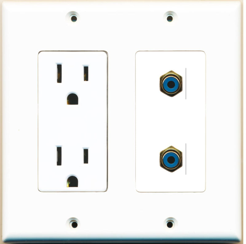 Wallplate City - 15 Amp Power Outlet 2 Port RCA Blue Decorative Wall Plate