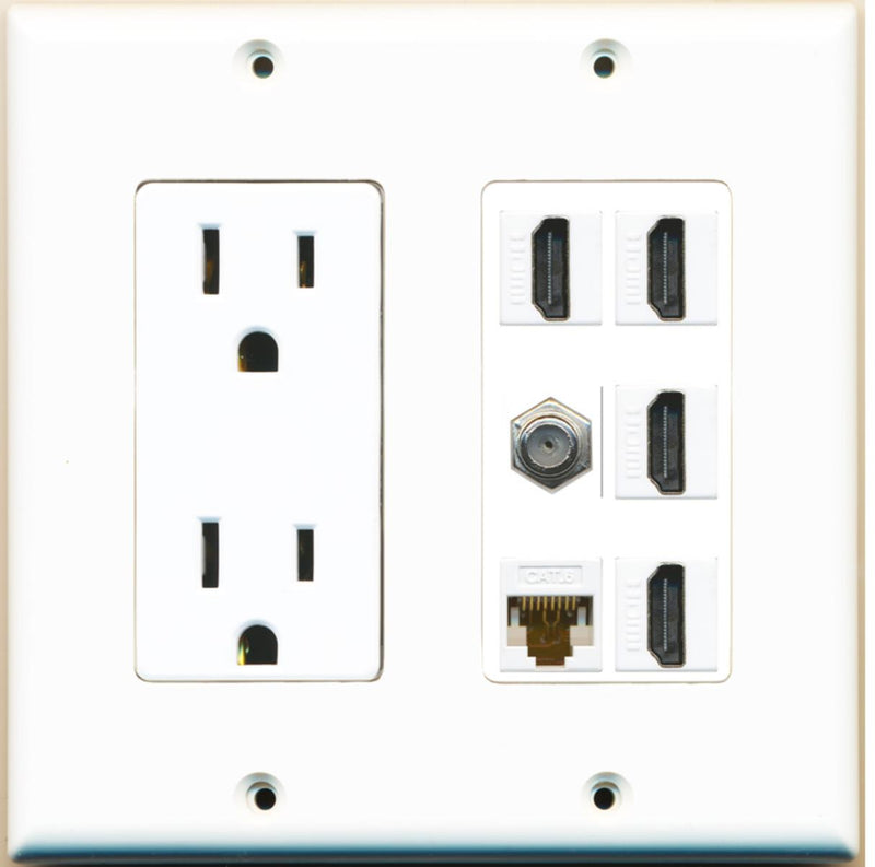 2 Gang Decorative 15A Power Outlet 4 HDMI Coax Cat6 White Wall Plate White