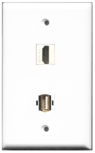 Wallplate City - 1 Port HDMI 2.0 1 Port USB A-A Female F/F Keystone Jack Wall Plate White