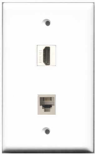 Wallplate City - 1 Port HDMI 2.0 1 Port Phone RJ11 RJ12 White Female F/F Keystone Jack Wall Plate White