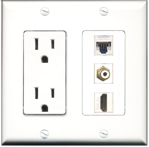 Wallplate City - 15 Amp Power Outlet 1 Port HDMI 1 Port RCA White 1 Port Cat5e White Decorative Wall Plate