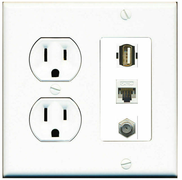 2 Gang Decorative 15 Amp  Round Power Outlet Coax Cat5e USB A-A Wall Plate