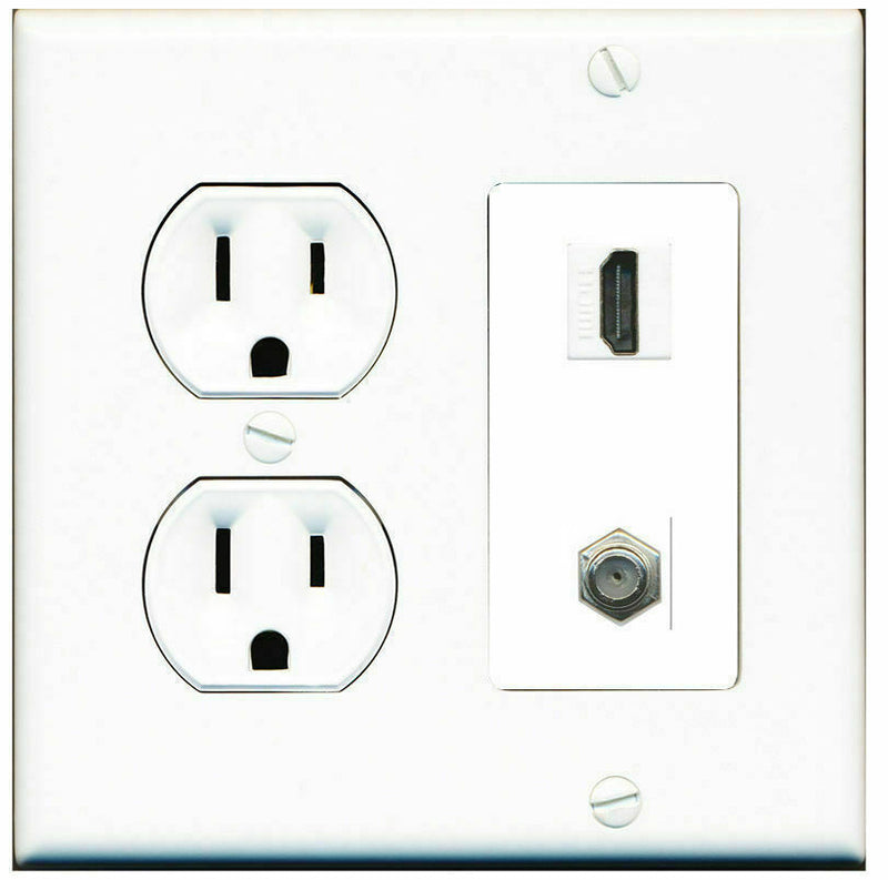 2 Gang Decorative 15 Amp Round Power Outlet HDMI Coax Wall Plate White
