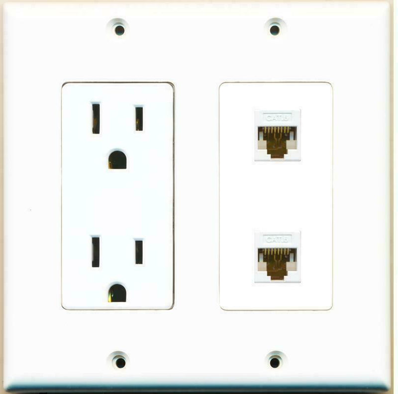 2 Gang 15 Amp Duplex Power Outlet 2 Cat6 Coupler Wall Plate Hide Cables
