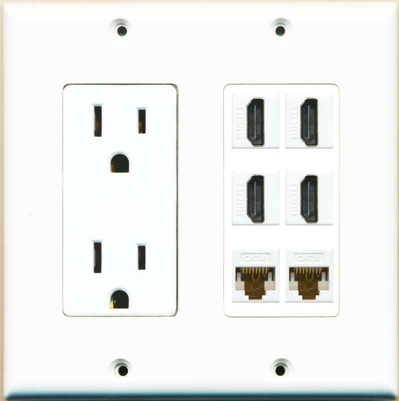 15A Power Outlet 4 HDMI 2 Cat6 Ethernet Wall Plate White