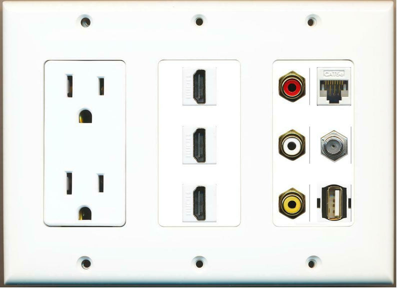 15A Power Outlet 3 HDMI RCA Red/White/Yellow Cat5e Coax USB A-A Wall Plate