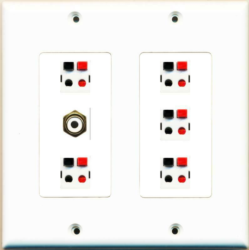 5 Port Speaker 1 x RCA White F/F Wall Plate