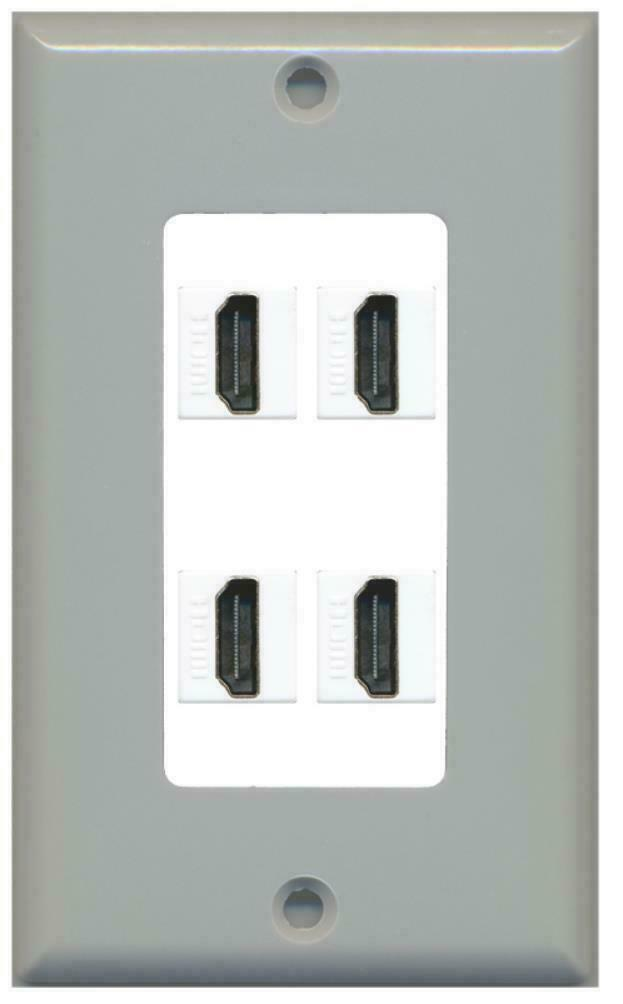 1 Gang Decorative - 4 HDMI Wall Plate Gray on White