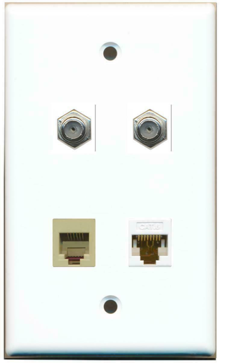 2 Port Coax Cable TV- F-Type Phone RJ11 RJ12 Beige Cat6 Ethernet Wall Plate