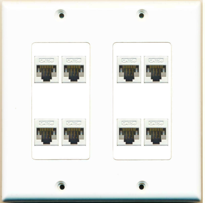 8 Port Decorative Dual 2 Gang Ethernet Cat5e RJ45 Network Wall Plate