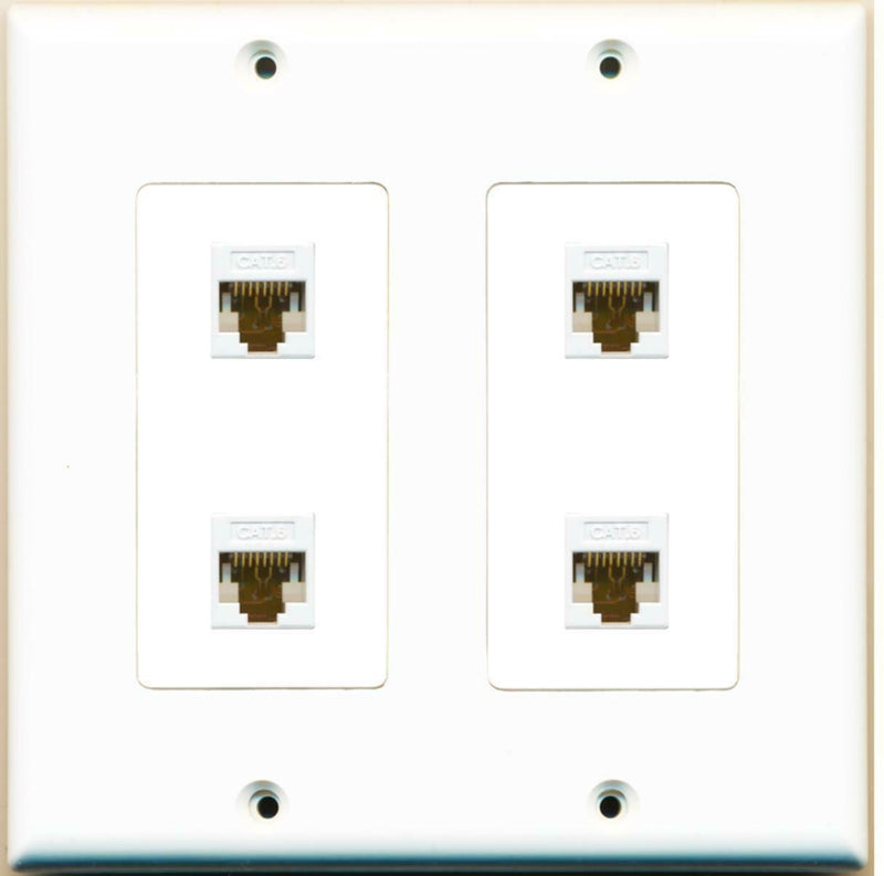 2 Gang Decorative 4 Cat6 White Wall Plate White