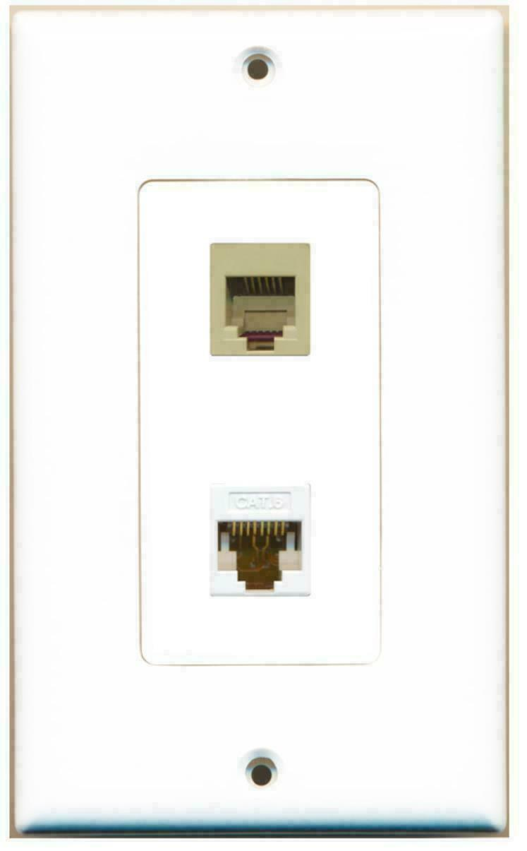 1 Port Phone Beige 1 Port Cat6 Ethernet Decorative Wall Plate