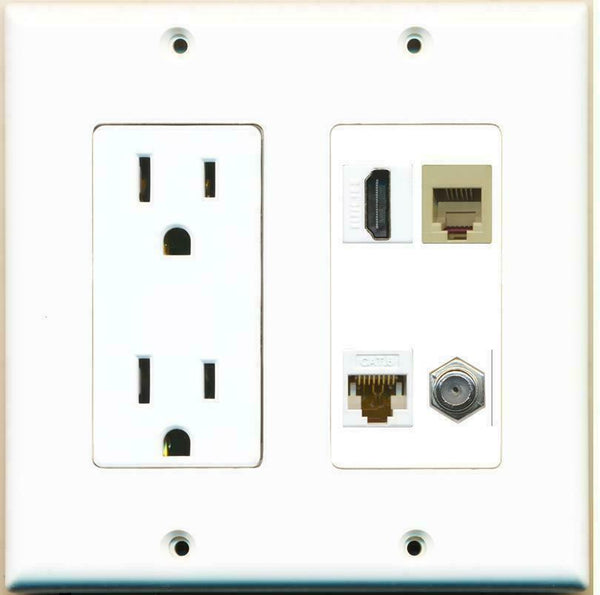 2 Gang 15 Amp Power Outlet HDMI Coax Cable Cat6 Phone Wall Plate