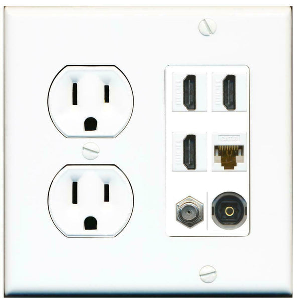 15 Amp Round Power Outlet 1 Port Speaker Jack Wall Plate White