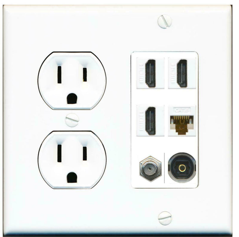 15A Round Power Outlet 3 Port HDMI 1 Cat6 Coax Cable TV Toslink Wall Plate