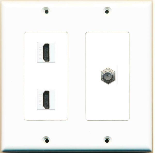 2 Gang 2 HDMI Coupler F-F 1 Coax Cable TV Wall Plate 2 Gang White