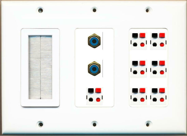 Brush and 7 Speaker 2 RCA F/F Wall Plate White