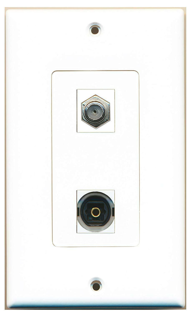 WPC - 1 Port Coax 1 Port Toslink Decorative Type Wall Plate