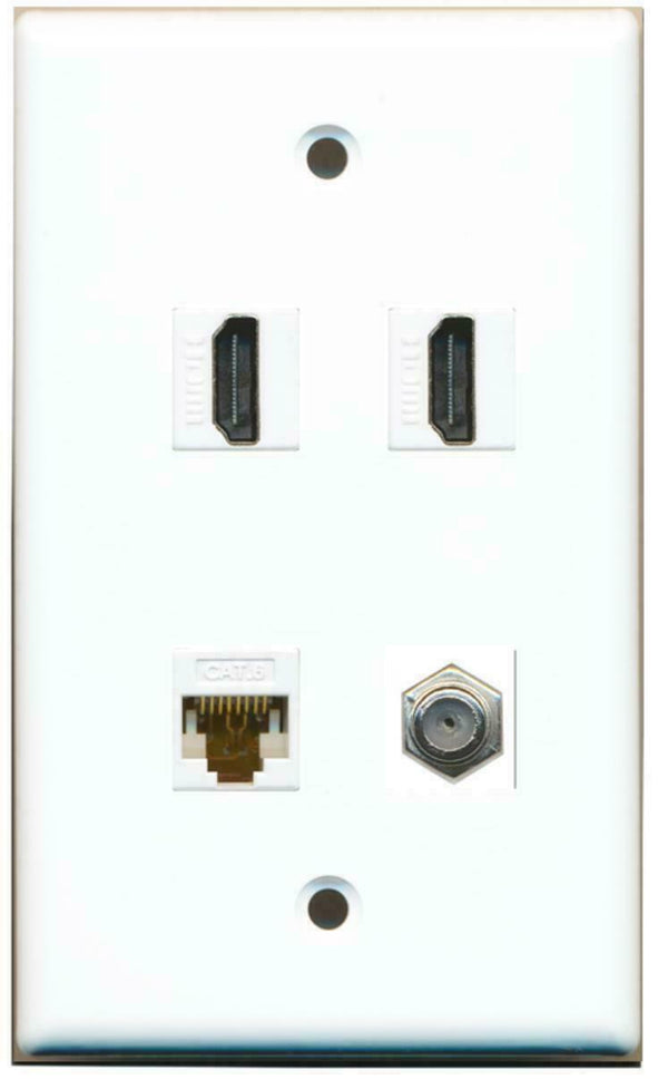1 Gang Flat 2 HDMI Coax Cable TV Cat6 Coupler Port Jack Wall Plate White