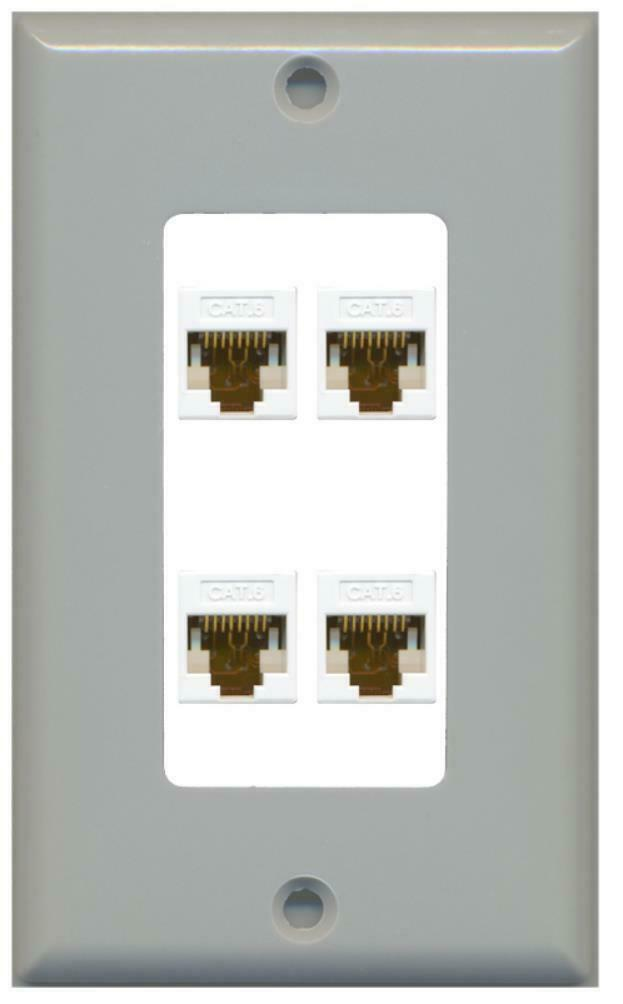 1 Gang Decorative 4 Cat6 White Wall Plate Gray on White