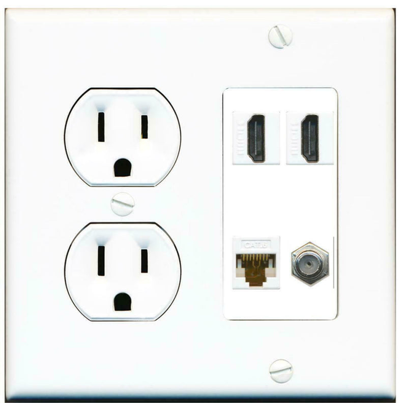 15A Round Power Outlet 2 Port HDMI 1 Cat6 Ethernet Coax Cable TV Wall Plate