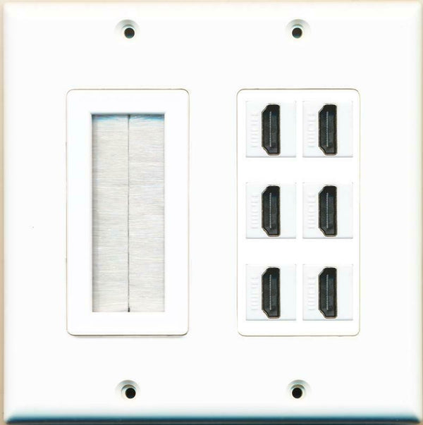 Brush and 6 HDMI Wall Plate White